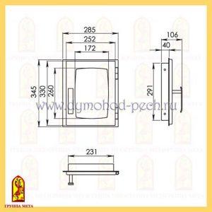 Дверь каминная от группы Мета ДП285-1Б схема