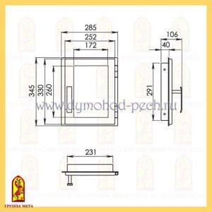 Дверь каминная от группы Мета ДП285-1С схема