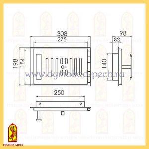 Дверь поддувала печного ПП308-1Р схема
