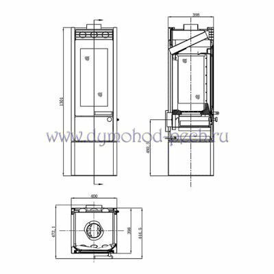 Печь-камин Везувий ПК-04 3 стекла схема
